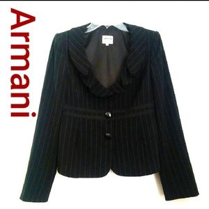 Armani Women's Black Pinstriped Jacket Size 6 #D29